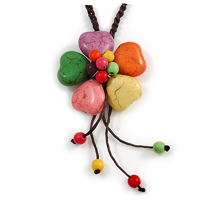 Multicoloured Ceramic Flower Pendant With Long Brown Cotton Cord - 60cm L