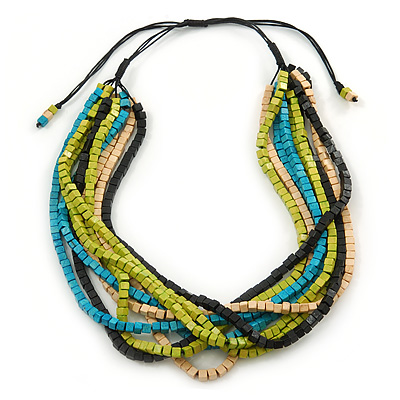 Multi-Strand Lime Green/ Black/ Teal/ Beige Wood Bead Adjustable Cord Necklace - 46cm to 58cm L - main view