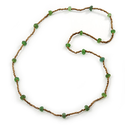 Long Bronze, Green Glass Bead Necklace - 94cm L