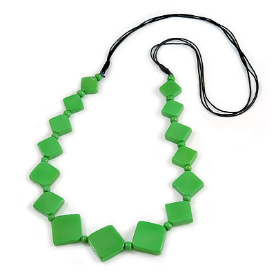 Long Bright Green Bone Square Bead Black Cotton Cord Necklace - 82cm L