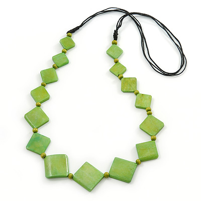 Long Lime Green Bone Square Bead Black Cotton Cord Necklace - 88cm L