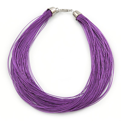 Multistrand Purple Silk Cord Necklace In Silver Tone - 40cm L