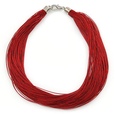 Multistrand Dark Red Silk Cord Necklace In Silver Tone - 40cm L