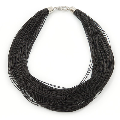 Multistrand Black Silk Cord Necklace In Silver Tone - 40cm L