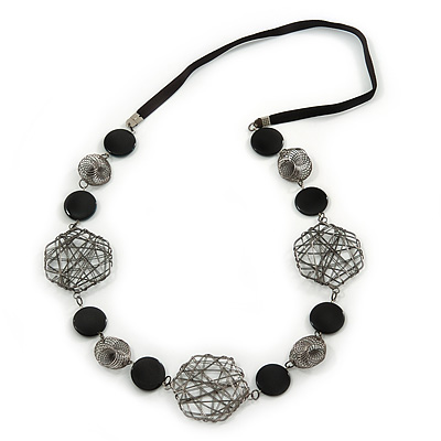 Geometric Wired Bead, Black Ceramic Stone Velour Cord Necklace - 72cm L