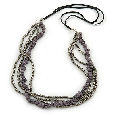 Multistrand Grey/ Metallic Silver Glass Bead, Semiprecious Stone Black Suede Cord Necklace - 74cm L