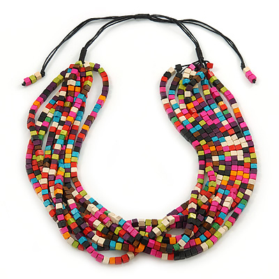 Multistrand Multicoloured Wood Bead, Black Adjustable Cord Necklace - 46cm to 58cm L - main view