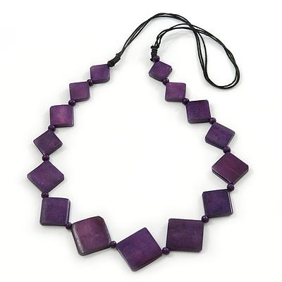 Long Deep Purple Bone Square Bead Black Cotton Cord Necklace - 80cm L