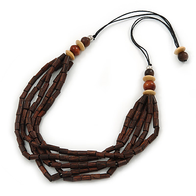 Multi-Strand Brown/ Cream Wood Bead Adjustable Cord Necklace - 68cm L