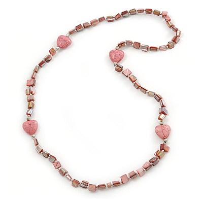 Dusty Pink Shell Nugget With Stone Hearts Necklace - 76cm L