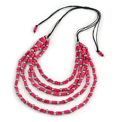 Multstrand, Layered Fuchsia Wood Bead, Black Cotton Cord Necklace - 60cm/ 80cm - Adjustable