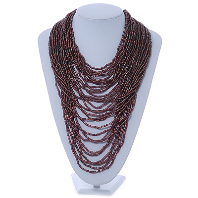 Chunky Plum Coloured Glass Bead Bib Necklace - 70cm L
