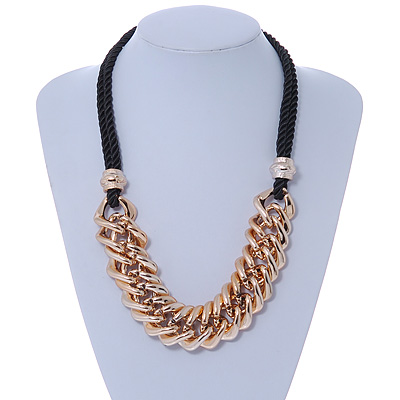Mirrored Gold Tone Acrylic Link Black Silk Cord Necklace - 50cm L