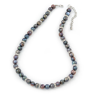 9mm Potato Shaped Peacock Coloured Freshwater Pearl With Crystal Rings Necklace In Silver Tone - 43cm L/ 6cm Ext - main view
