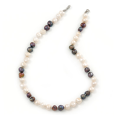 9mm-10mm Light Cream/ Black Baroque Freshwater Pearl Necklace In Silver Tone - 46cm L - main view
