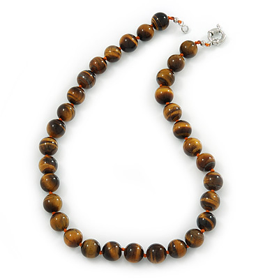 12mm Tiger Eye Round Semi-Precious Stone Necklace With Spring Ring Clasp - 44cm L