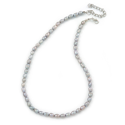 6mm Light Grey Rice Freshwater Pearl Necklace - 41cm L/ 5cm Ext