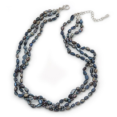 7mm Black/ Grey Rice Freshwater Pearl, 3 Strand Twisted Necklace - 41cm L/ 5cm Ext - main view