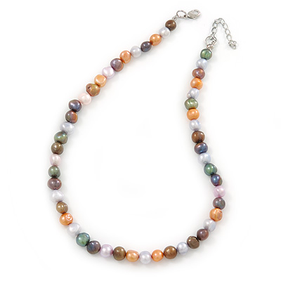 8mm Multicoloured Oval Freshwater Pearl Necklace In Silver Tone - 39cm L/ 4cm Ext - main view
