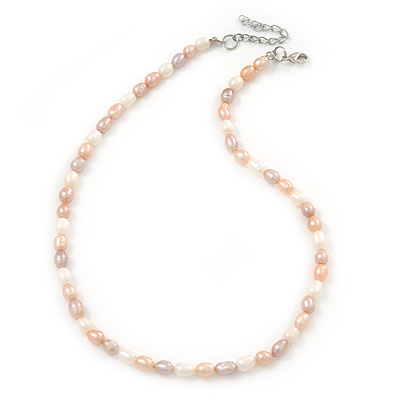 5-6mm Cream/ White/ Pink Rice Freshwater Pearl Necklace - 41cm L/ 5cm Ext