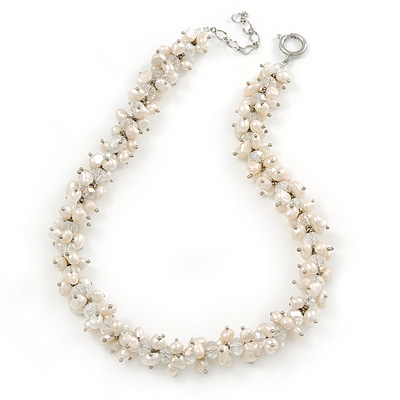 7-8mm White Baroque Freshwater Pearl, Transparent Crystal Bead Cluster Necklace - 42cm L/ 4cm Ext - main view