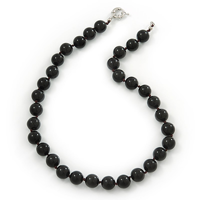 12mm Black Agate Round Semi-Precious Stone Necklace With Spring Ring Clasp - 46cm L
