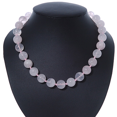 14mm Rose Quartz Round Semi-Precious Stone Necklace With Spring Ring Closure - 46cm L