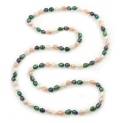 Long Rope Baroque Shape Multicoloured Freshwater Pearl Necklace - 116cm L - main view