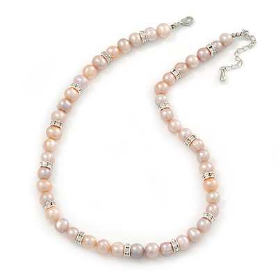 10mm Potato Shaped Lilac Freshwater Pearl With Crystal Rings Necklace In Silver Tone - 43cm L/ 6cm Ext