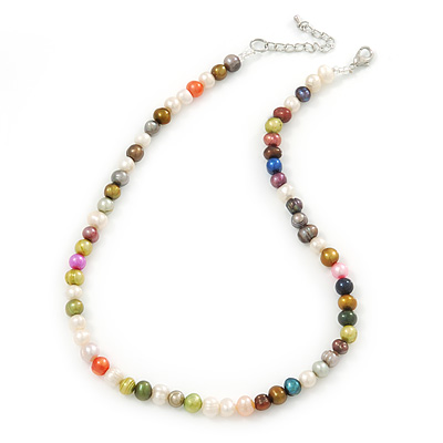 7mm Multicoloured Semi-Round Freshwater Pearl Necklace In Silver Tone - 36cm L/ 4cm Ext - main view
