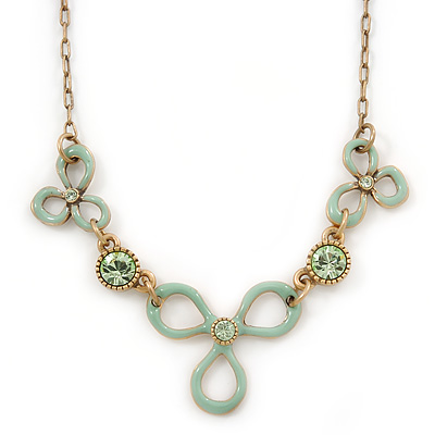 Vintage Inspired Mint Green Enamel Floral Necklace In Gold Tone - 36cm L/ 6cm Ext - main view