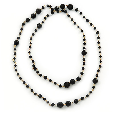 Long Black Acrylic Graduated Bead Necklace In Gold Tone - 122cm L