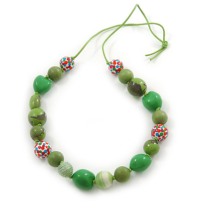 Grass Green, Olive Wood and Cotton Bead Cord Necklace - 88cm L