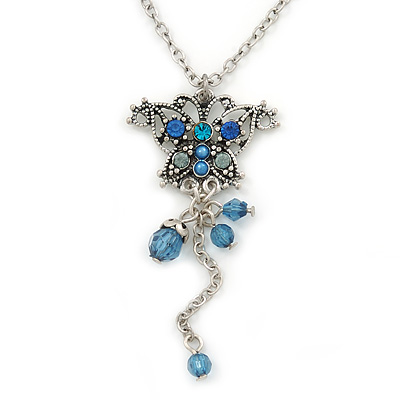 Vintage Inspired Blue Crystal Butterfly Pendant With Pewter Tone Chain - 38cm L/ 6cm Ext