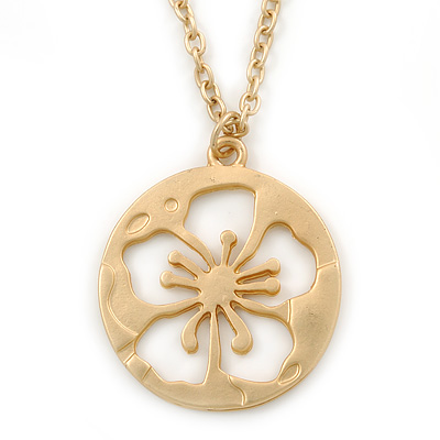 Long Brushed Gold Open Cut Flower Pendant With Chain - 70cm L