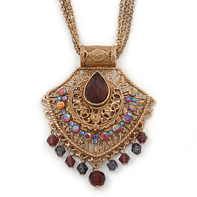 Vintage Inspired Filigree, Purple Crystal Diamond Pendant With Burnt Gold Chains - 40cm L/ 5cm Ext