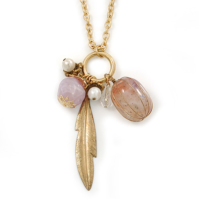 Feather & Acrylic Beads Cluster Pendant With Long Chain In Gold Tone - 80cm L/ 7cm Ext