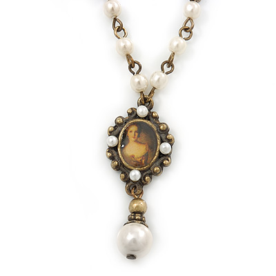 Small Cameo Pendant With Cream Faux Pearl Beaded Chain In Bronze Tone Metal - 45cm/ 7cm Ext