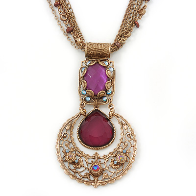 Vintage Inspired Filigree, Purple Crystal Pendant With Burnt Gold Chains - 38cm L/ 5cm Ext