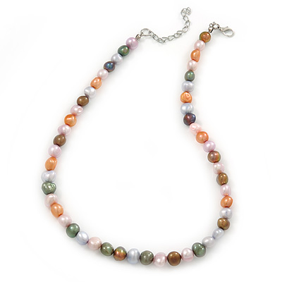 9mm Multicoloured Oval Freshwater Pearl Necklace In Silver Tone - 39cm L/ 4cm Ext - main view