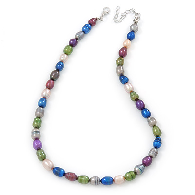 9-10mm Multicoloured Oval Freshwater Pearl Necklace - 41cm L/ 6cm Ext