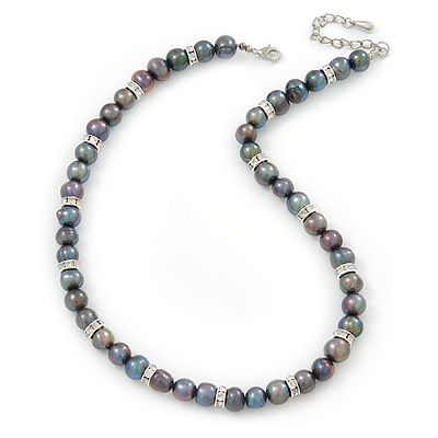10mm Potato Shaped Peacock Coloured Freshwater Pearl With Crystal Rings Necklace In Silver Tone - 43cm L/ 6cm Ext