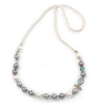 White, Grey Shell Pearls with Crystal Glass Beads Long Necklace - 80cm L