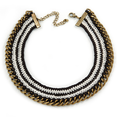 Black/ White Cotton Cord Collar Necklace with Antique Gold Chain - 33cm L/ 8cm Ext