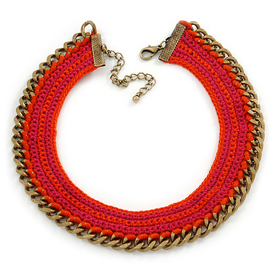 Orange/ Fuchsia Cotton Cord Collar Necklace with Antique Gold Chain - 33cm L/ 8cm Ext