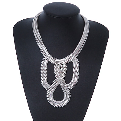 Statement Bib Style Mesh Necklace In Light Silver Tone Metal - 40cm L/ 4cm Ext/ 10cm Bib - main view