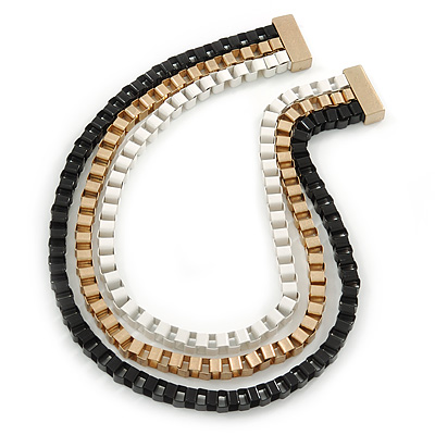 Black/ Brushed Gold/ White Square Link Layered Necklace with Magnetic Closure - 43cm L