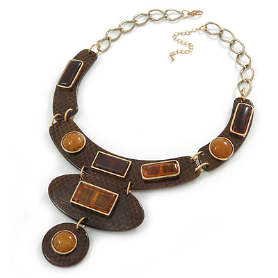Statement Resin Stations Snake Pattern Amber Style Stone Collar Necklace In Gold Tone - 42cm L/ 8cm Ext
