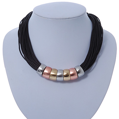 Black Waxed Cord Necklace with Silver/ Gold/ Copper Tone Metal Rings - 40cm L - main view