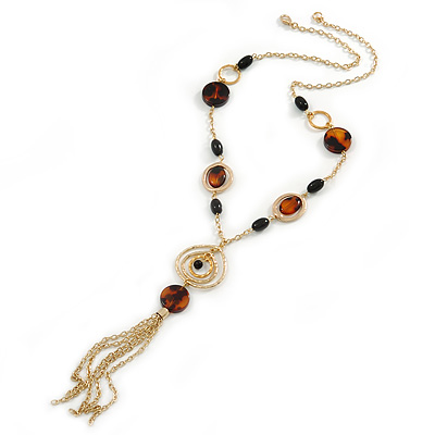 Long Tassel with Black and Brown Resin Bead Necklace In Gold Tone Metal -  60cm L/ 15cm Tassel